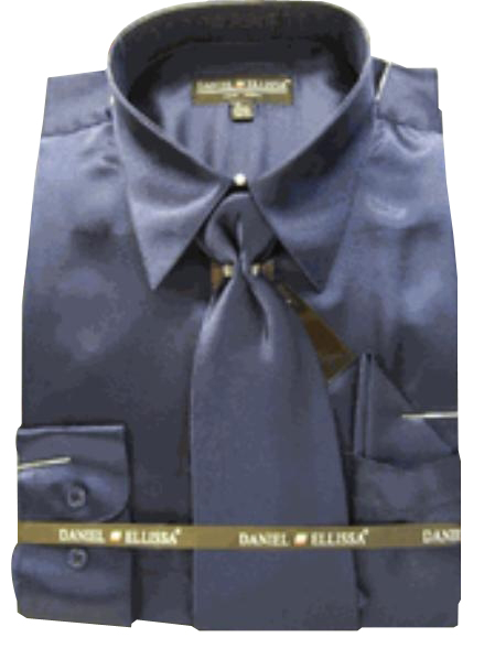 Navy Satin Dress Shirt