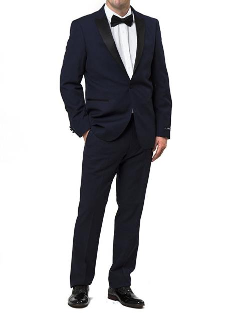 Product# JSM-5400 Men's fully lined zip fly tuxedo style navy suit