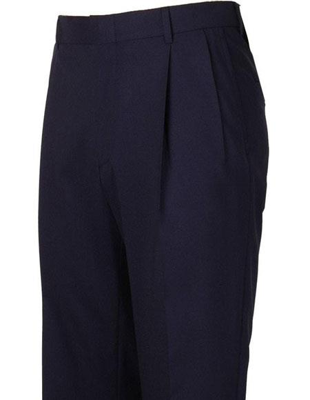 Product# JSM-4292 Mens Navy Pleated Style Atticus Classic Fit Wool Pant
