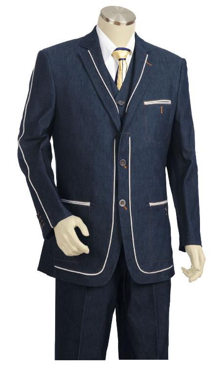 Navy Three Button Suit