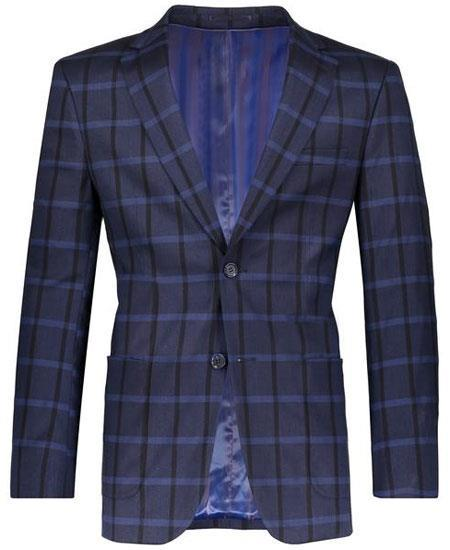 Navy Slim Fit Plaid