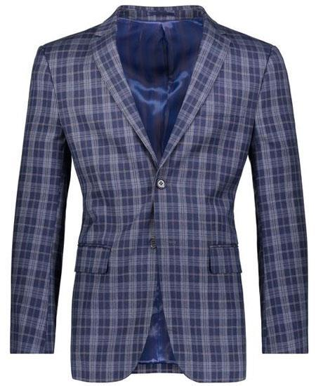 Slim Fit Navy Plaid