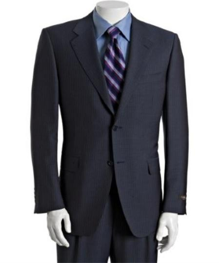 Navy Pinstriped Wool Fabric-Mohair