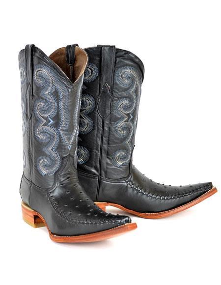 Product# WD-AV705 Men's Negro Bota Hombre Imitacion Ostrich Dress Shoes