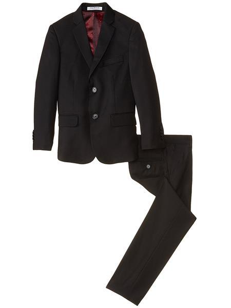 Product# JSM-3883 kids children Boys' Black Slim Linen/Cotton 2 Piece Cut Notch Lapel Boys And Men Suit