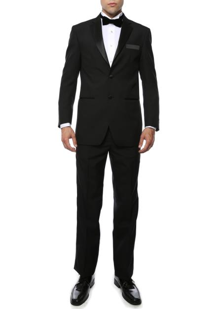 Product# JSM-4382 Men's Black Satin Notch Lapel 2 Piece Polyester Fully Lined Tuxedo Suit