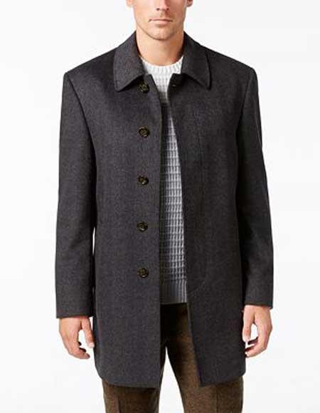 Product# JSM-1097 Men's 5 Button Charcoal Herringbone Tweed Notch Lapel Wool Blend Overcoat