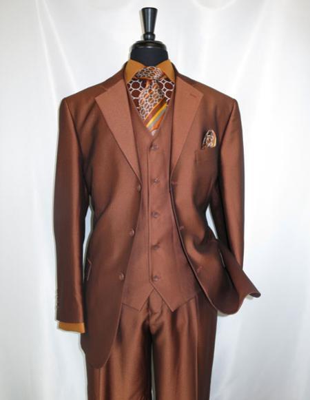 Product# CH2351 Men's 3 buttons Notch Lapel Rust ~ Copper Vested Suit