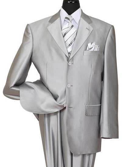 Men's 3 Button Silver Notch Lapel Shiny Sharkskin Side Vent Suit