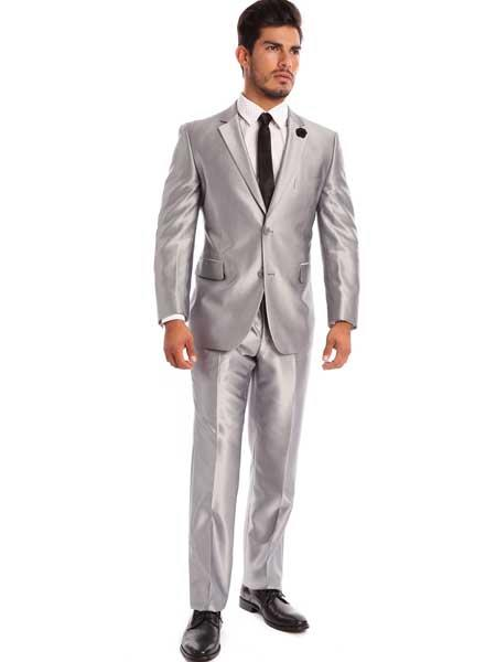 Men's 2 Piece Silver Solid Italian Classic Fit Notch Lapel Sharkskin Styled Suit