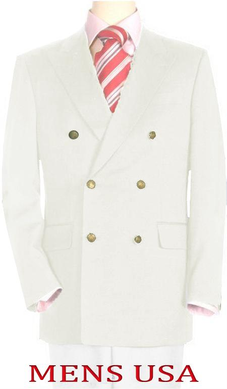 High Quality Off White Double Breasted Blazer Online Sale with Peak Lapels