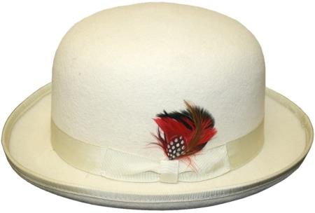 Product# TK383 bowler derby style ~ Bowler Hat Off white