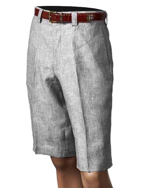 Product# SM864 Inserch Brand Brand/Merc Off White Pleated Slacks 100% Linen Flat Front Shorts
