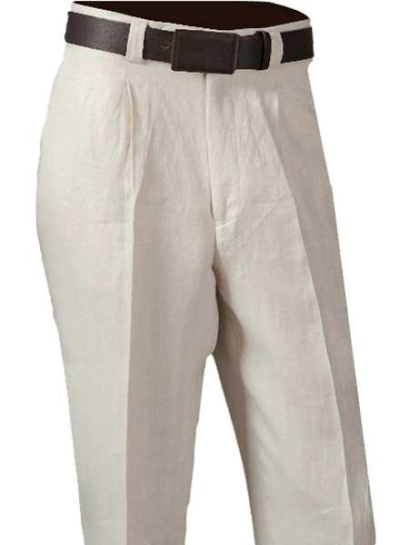 Product# SM870 Off White Single Pleated Slacks Pant 100% Linen