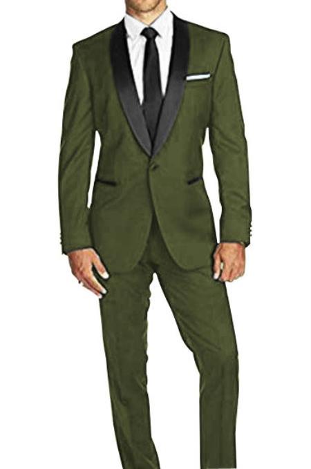Authentic Braveman Men's Olive Green Satin Shawl Lapel Solid Pattern 1 Button Tuxedo Suit for Men