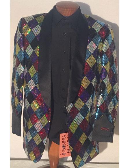 men's Black Shawl Lapel 1 button style multicolor printed blazer