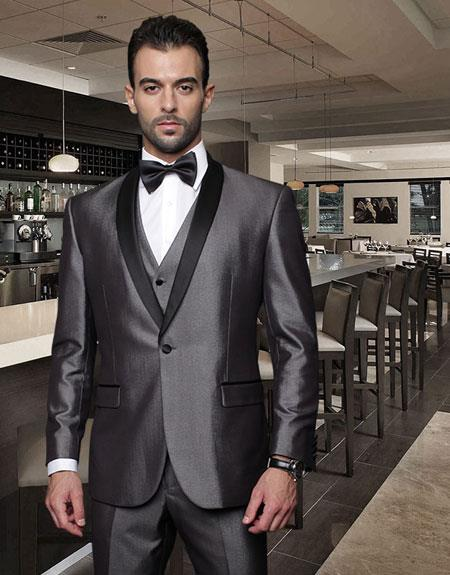 One Button Classic Three Piece Shawl Collar Suit With Trim On The Collar Superior Fabric 150'S Extra Fine Italian Fabric Wynn