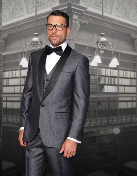 One Button Classic Three Piece Sharkskin Suit With Solid Liquid Jet Black Satin Shawl Collar Blue