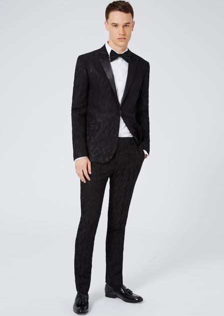 Product# JSM-6840 Men's Black Ultra Skinny Fit Peak Lapel Single Braested Jacket