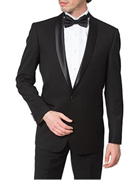 Product# GD1295 Giorgio Fiorelli Men's Regular Fit One Button Shawl Collar Formal Black Tuxedo Suit