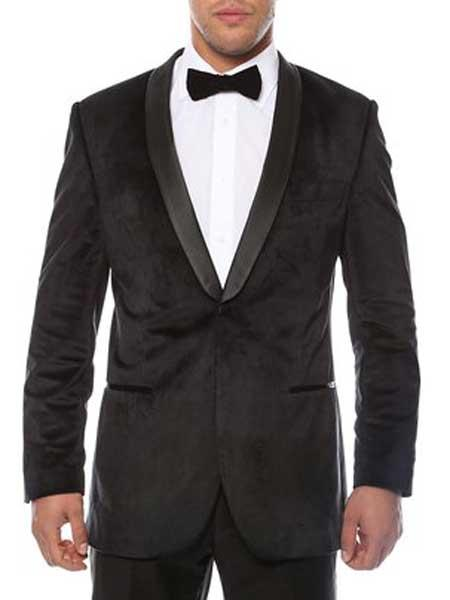 1 Button Black Shawl Lapel Velvet Velour With Sheen Two Toned With Black Lapel Side Ve