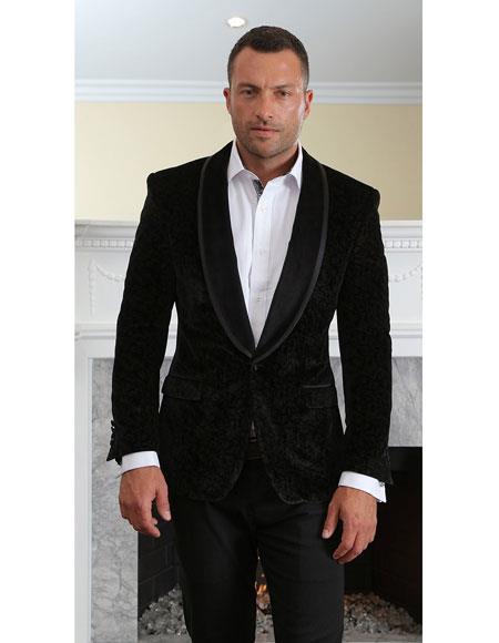 Mens black velvet tuxedo