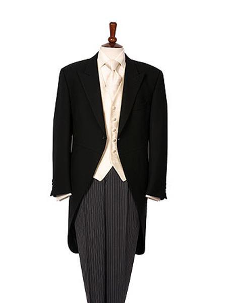 Men's Wool Medium Weight 1 Button Black Morning Coat