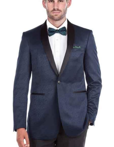 Men's Renoi 1 Button Blue Shawl Collar Textured Tuxedo Slim Fit Double Vent Blazer
