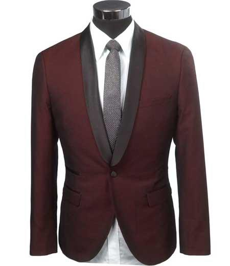 Product# SD295 Men's Burgundy Slim Fit 1 Button Two Toned Black Lapel Satin Shawl Collar Dinner Jacke