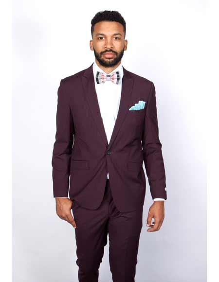 Product# JSM-3143 Tapered Leg Lower Rise Pants & Get Skinny 1 Button Burgundy Slim Fit Peak Lapel Pinstripe Suit Clearance Sale Online