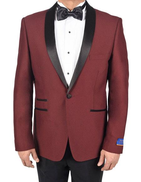 Mens Burgundy 1 Button