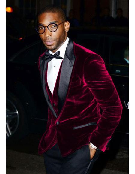 Product# CH1586 Mens Burgundy Velvet Tuxedo Blazer ~ Sport coat
