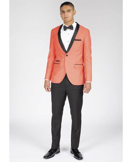 Mens 1 Button Coral