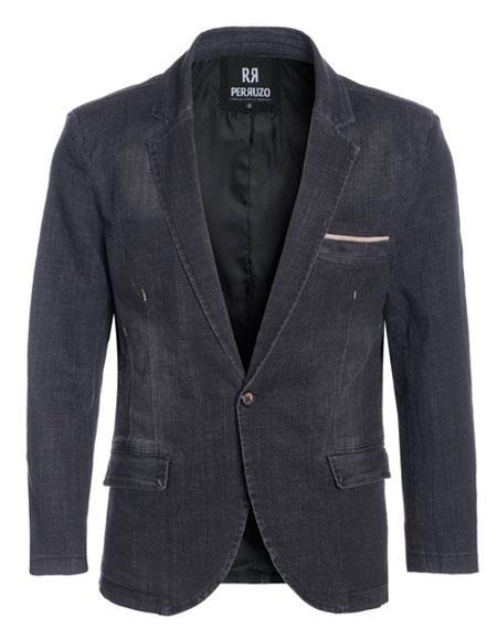 Perruzo Denim Black Blazer Slim Fit Sport Jacket