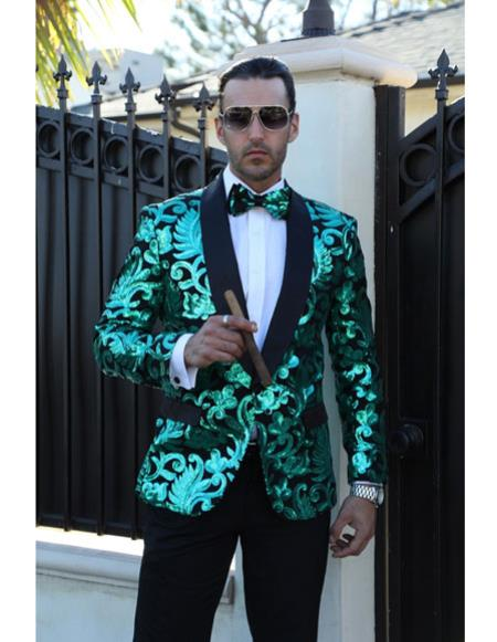 Mens sequin jacket swirl
