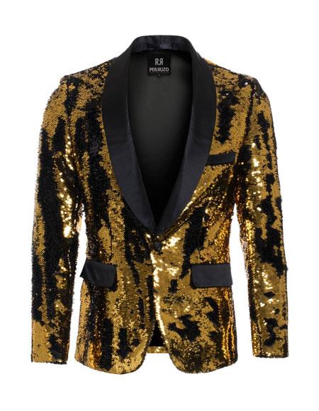 men's Gold ~ Black high fashion sequin Blazer ~ Suit Jacket