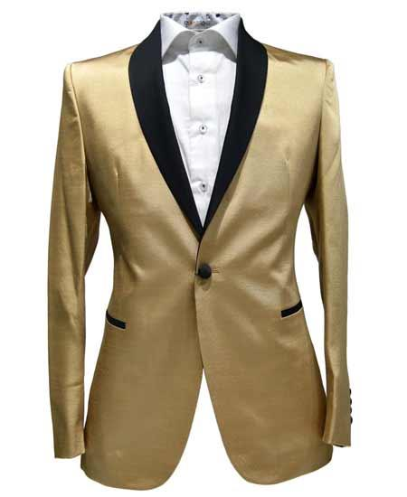 1 Button Tuxedo Solid Contrast Lapel Black Shawl Collar Two Toned Gold Dinner Jacket