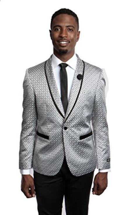 Men's Tazio 1 Button Slim Fit Gray Blazer