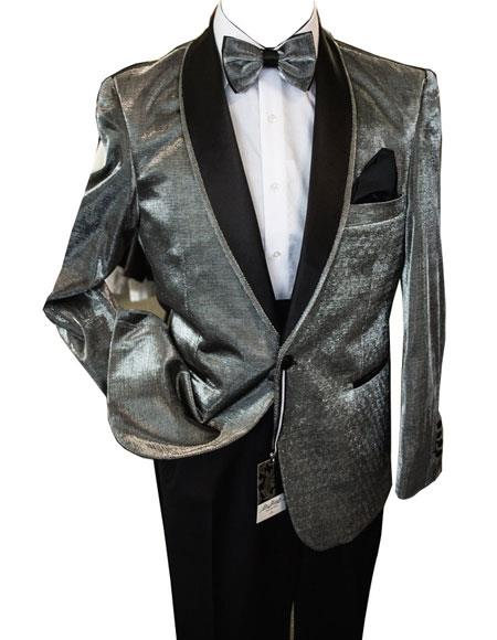 men's Unique Shiny Fashion Prom Black and Silver Suit ~ Grey / Gray Tuxedo Dinner Jacket Blazer Sport Coat Jacket Shawl Collar Perfect For Prom Clothe - Prom Outfits For Guys
