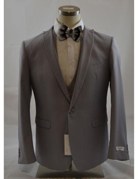 Product# CH2242 Mens Grey 1 Button Peak Lapel Vested suit Peak Lapel 3 Piece Suits Slim Fit Tapper Cut Clearance Sale Online