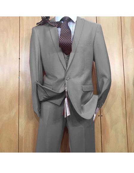 men's 1 button style Grey Peak Lapel Vested Slim fitted Suit Clearance Sale Online