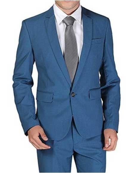 Men's 1 Button Notch Lapel Single Breasted Royal ~ Cobalt ~ Indigo ~ Teal Blue Slim Fit Wool Blend Suit Clearance Sale Online
