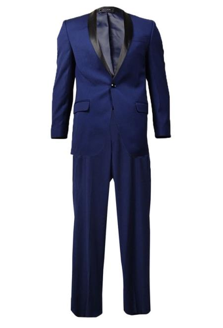 Product# JSM-4202 Men's Indigo ~ Cobalt Blue ~ Teal Navy Shawl Lapel Tuxedo Black Lapel Suit