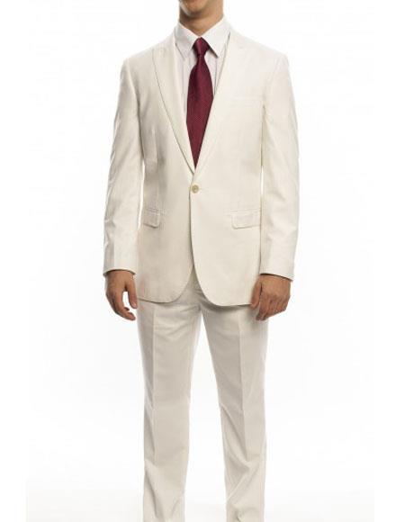 JSM-1098 Men's One Button Ivory Single Breasted Ultra Slim Fit Peak Lapel Suit Clearance Sale Online