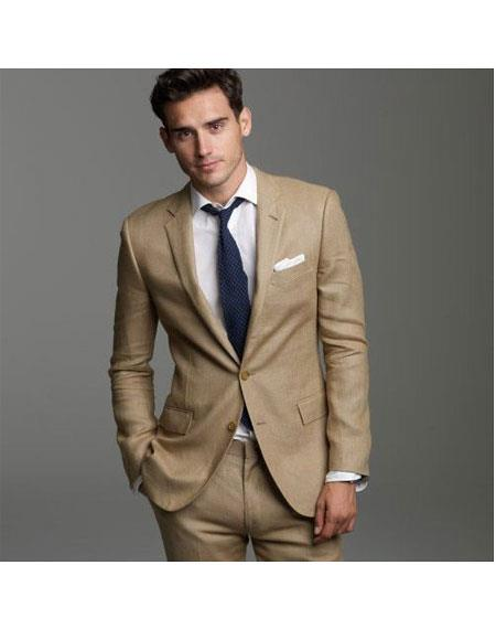Mens Khaki Linen Suits