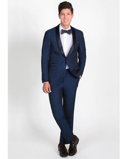 Product# GD1783 Men's 1 Button Slim Fit Navy Blue Tuxedo with Black Shawl Lapel Clearance Sale Online