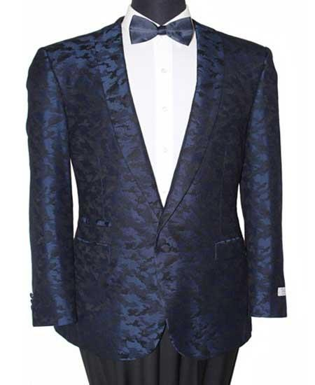 1 Button men's Slim Fit Navy Notch Lapel Abstract Design Fashion Jacket