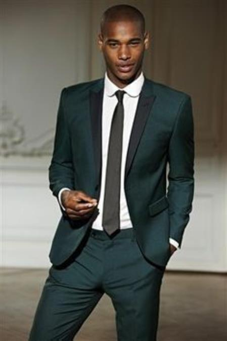 Product# JSM-2221 Men's Olive Green Tuxedo with black lapel Custom Made Suit for Men