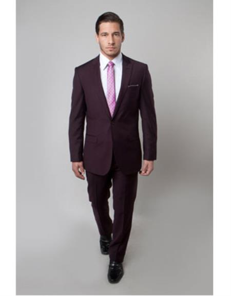 Mens 1 Button Plum