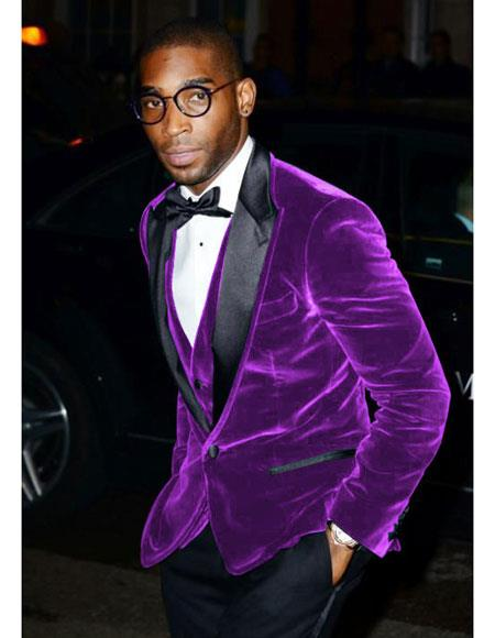 Mens Purple Velvet Black